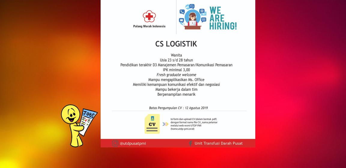 Lowongan kerja staf logistik  UDD PUSAT - PMI